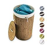 Relaxdays Wäschekorb Bambus, faltbare Wäschetonne mit...