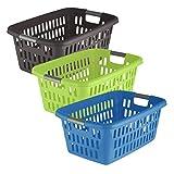 axentia Wäschekorb aus Kunststoff, Wäschesammler mit...